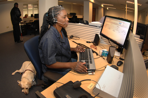 A blind woman behind a computer wearing a headset, her seeing-eye dog resting in the background